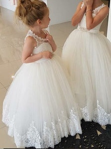 Ball Gown Scoop Open Back Flower Girl Dresses with Lace