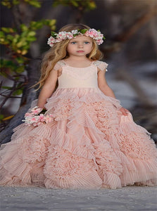 A Line Tulle Sweep Train Flower Girl Dresses with Beadings