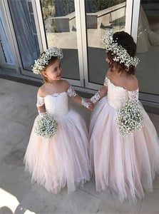 Off the Shoulder Tulle Flower Girl Dresses with Pleats