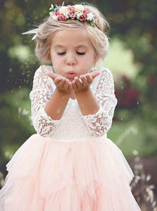 A Line Scoop Tea Length 3/4 Sleeves Pink Flower Girl Dresses with Lace Ruffles