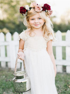 Cap Sleeves Lace and Chiffon Ivory Flower Girl Dresses