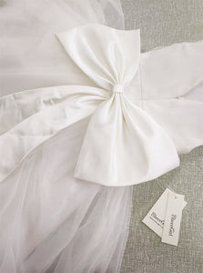 Tulle Open Back Sleeveless Flower Girl Dresses with Bow