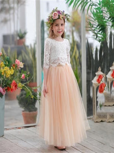 A Line Tulle 3/4 Sleeves Flower Girl Dresses with Pleats