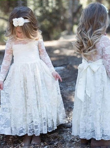 A Line White Lace Flower Girls Dresses with Long Sleeves