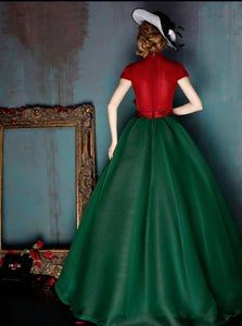 High Neck Green Red Tulle Belt Prom Dresses