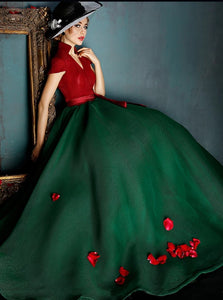 High Neck Green Red Short Sleeves Tulle Prom Dresses