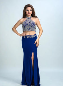 Sheath Halter Spandex Prom Dresses Beadings With Slit