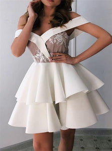 White Off the Shoulder Pleats Satin Short Homecoming Dresses