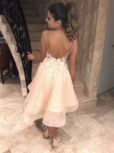 A Line Tulle Sleeveless Homecoming Dresses with Appliques