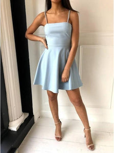A Line Spaghetti Straps Above Knee Light Blue Satin Homecoming Dresses
