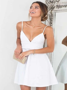 A Line V Neck Spaghetti Straps Satin Short Homecoming Dresses