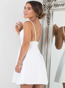 White Satin Mini Sleeveless Homecoming Dresses