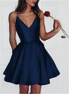 V Neck Pleats Stain Above Knee Blue Homecoming Dress