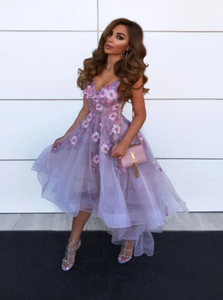 A Line High Low V Neck Tulle Homecoming Dresses With Flowers