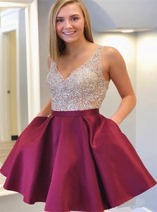 V Neck Above Knee Champagne and Burgundy Satin Homecoming Dresses