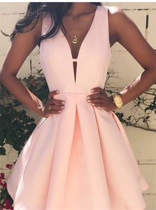 A Line Sleeveless Peach Pink Stain V Neck Homecoming Dresses