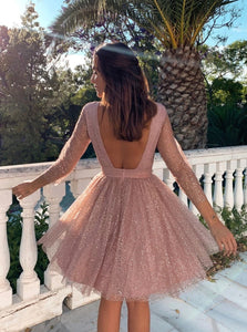 A Line Long Sleeves Open Back Tulle Tea Length Prom Dresses