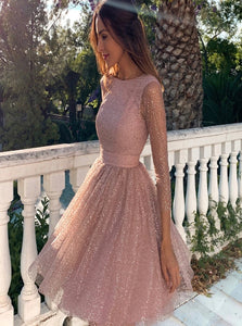A Line Long Sleeves Open Back Tulle Sequins Prom Dresses