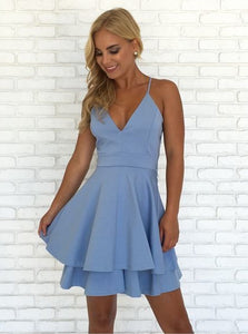 Spaghetti Straps V Neck Short Homecoming Dresses