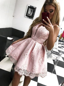 V Neck Satin Zipper Up Homecoming Dresses with Lace
