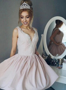 A Line V Neck Beading Pink Short Prom Dresses With Pleats