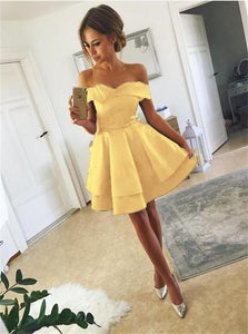A Line Off the Shoulder Short Yellow Satin Homecoming Dresses