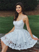 A Line Lace Above Knee White Homecoming Dresses