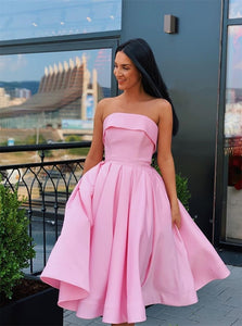 Strapless Satin Ball Gown Short Pink Prom Dresses with Pleats