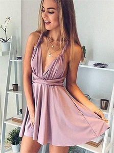 Dusty Pink V Neck Above Knee Satin Homecoming Dresses with Pleats