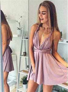 A Line Dusty Pink Short Satin Homecoming Dresses