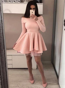 A Line Scoop Short Homecoming Pink Dresses With Long Sleeves