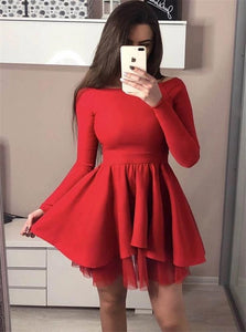 Scoop Short Homecoming Red Dresses With Long Sleeves