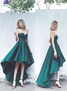 A Line Strapless Asymmetrical Green Satin Prom Dresses