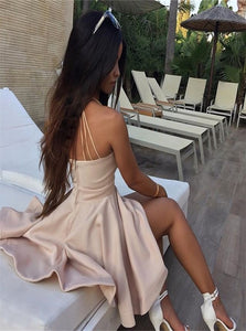 Pink A Line V Neck Pleats Prom Dresses