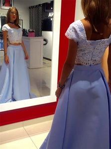 Two Piece A Line Square Neck Lace Appliques Satin Blue Prom Dresses