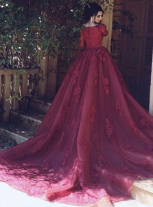 Burgundy A Line Scoop Sweep Train Zipper Up Lace Prom Dresses