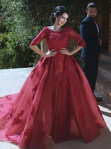 Burgundy A Line Scoop Sweep Train 3/4 Sleeves Lace Prom Dresses