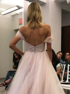 A Line Off The Shoulder Tulle Pleats Belt Prom Dresses