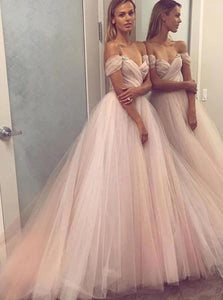 Off The Shoulder Tulle Pleats Prom Dresses