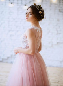A Line Scoop Pink Tulle Lace Zipper Up Prom Dresses with Appliques