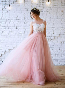 A Line Scoop Pink Tulle Lace Sweep Train Prom Dresses with Appliques