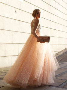 A Line Chic Pink Lace Straps Open Back Appliques Prom Dresses