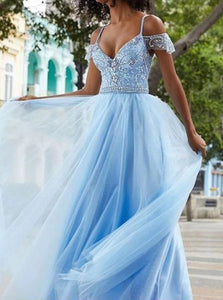 Short Sleeves Straps Tulle Floor Length Prom Dresses with Beadings