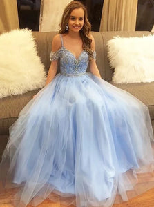 Chic Blue Short Sleeves Straps Tulle Prom Dresses with Beadings