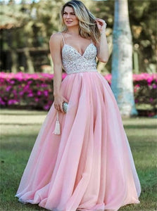 Spaghetti Straps Backless Pink Organza Long Prom Dress with Sequins