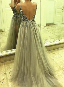 Silver V Neck Open Back Sweep Train Prom Dresses with Rhinestones