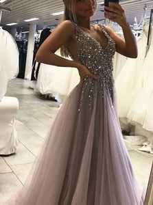 Silver V Neck Open Back Prom Dresses with Beadings