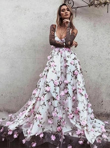 Floral Pink Prom Dress Lace Long Appliques Prom Dresses