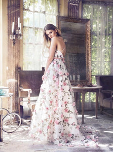 Floral Pink Prom Dress Lace Long Prom Dresses
