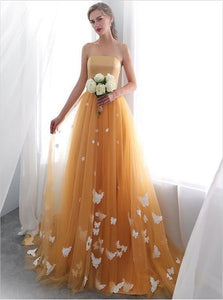 Orange A Line Strapless Tulle Long Prom Dresses